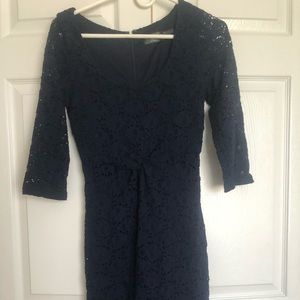 Guess navy floral long sleeve dress